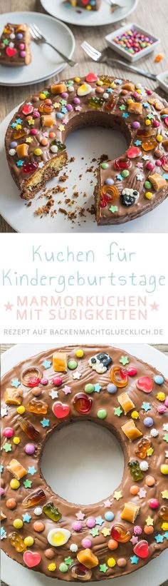 Simple kid birthday cake- Einfacher Kindergeburtstagskuchen Kids love this birthday cake! And because the recipe is so easy, even beginners can bake the marble cake. A beautiful birthday cake for kindergarten, parties and co - Kindergarten Party, Birthday Cake For Him, Beautiful Birthday Cakes, Marble Cake, Diy Cake, Happy Kids, Yummy Cakes, No Bake Cake, Kids Meals