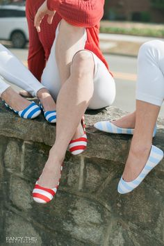March Madness fashion in NC Triangle college colors - Duke blue, NC State red, and Tarheel blue. These striped ballet flats by Lillybee-U are adorable for college game-watch parties or tailgating. Photo by Fancy This Photograpy / Shoot by @SthrnBrideGroom / southernbrideandgroom.com