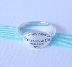01e311b74 Tiffany & Co Size 7 Silver Return to Tiffany New York 925 Oval Ring Band