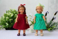 American girl mini dress Hand knitted Magenta Green openwork