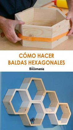 We are going to make some simple hexagon shaped shelves .- We are going to make some simple hexagon shaped shelves. Joining different pieces, we will create compositions that will be perfect for decorating the walls of any room. Wooden Shelf Design, Wall Shelves Design, Wooden Shelves, Woodworking Books, Woodworking Projects Diy, Diy Wood Projects, Woodworking Classes, Burlap Crafts, Wood Crafts