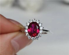 Royal Style Oval Ruby Ring Lab Ruby Engagement Ring/ Wedding