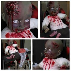 Baby doll, face paint, glow in dark/white nail polish for eyes, fake blood, for the scares I used spackle (rolled up like putty and smeared edges to blend and carved brains/open wounds, dried over night and painted) set on highchair with brains and fingers for lunch! -SheaC