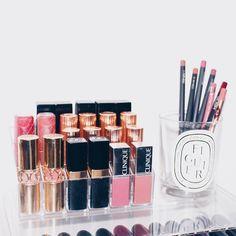 """ #muji #acrylicstorage #makeupstorage #mac #maclipstick #maclipliner #diptyque #ysl #chanel #clinique #charlottetilbury #nars #lipstick #lipstickaddict…"""