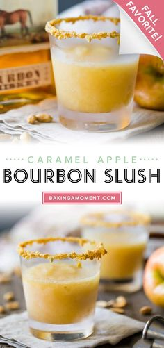 Caramel Apple Bourbon Slush: made with real apples and apple cider, buttery caramel, and toasty bourbon. A perfect fall sipper! #caramelapple #bourbon #slush #slushie #slushies #caramel #apple #drinks #cocktails #bakingamoment Bourbon Slush, Apple Bourbon, Drink Recipes, New Recipes, Recipe Boards, Slushies, Summer Drinks, Caramel Apples, Apple Cider