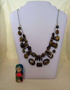 Two Strand Tigers Eye Necklace with Silver tone by evecollection, $40.00