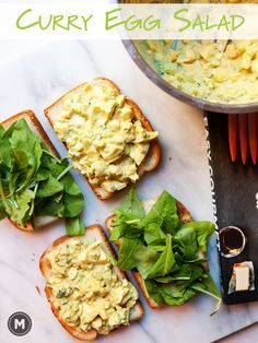 Delicious Egg salad with plenty of crunch and just enough curry to give it a kick. Perfect on toast with fresh arugula. From the new Easy Gourmet Cookbook!