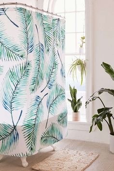 83 Oranges For Deny Watercolor Palms Shower Curtain   Urban Outfitters