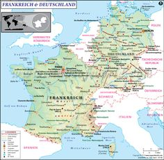 map of france and germany showing the geographical location of the countries along with their capitals international boundaries surrounding countries