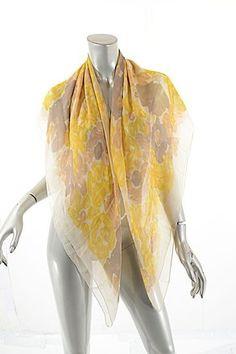 2d7cd74087 Sonia Rykiel Marigold Taupe & Peach Ivory Silk Chiffon Floral Scarf/Wrap.  Free shipping