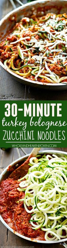 Skinny Turkey Bolognese with Zucchini Noodles // throw together in 30 minutes #protein #lowcarb