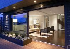 Great big sliding doors create a nice connection to the backyard.