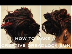 How to make a creative dreadlock bun / dreadlock updo! Dreadlock Styles, Dreads Styles, Curly Hair Styles, Natural Hair Styles, How To Style Dreadlocks, Dreadlock Hairstyles, Messy Hairstyles, Dreadlocks Updo, Locs