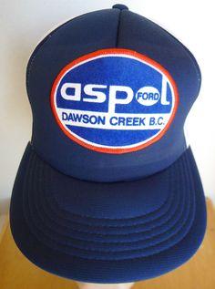 Aspol Ford Dawson Creek B.C. Trucker Hat Cap Snap-back Navy White 1980 s