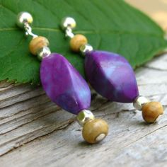 Purple Turquoise Earrings with Sterling Silver and by jetflair, $36.00