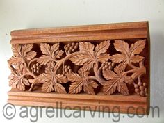 Sample of a gothic grape vine panel from Southwell Minster in Nottinghamshire England - used by our client as a cornice to their dining room - hand carved in wood by Agrell Architectural Carving