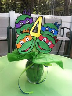 teenage mutant ninja turtles centerpiece made of paperYou can find Ninja turtle birthday and more on our website.teenage mutant ninja turtles centerpiece made of paper Ninja Turtle Party, Ninja Party, Ninja Turtles, Teenage Turtles, Turtle Birthday Parties, Ninja Turtle Birthday, Boy Birthday, Birthday Table, Birthday Ideas