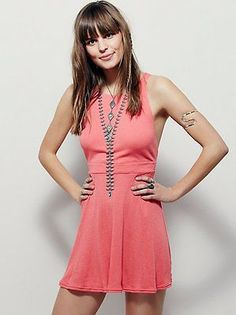 New Free People Shot Caller Mini Dress Cotton Polyester Washed Poppy Coral M.