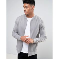 ASOS Jersey Bomber Jacket In Grey ($30) ❤ liked on Polyvore featuring men's fashion, men's clothing, men's outerwear, men's jackets, grey, tall mens jackets, mens cotton jacket, mens grey jacket, mens cotton bomber jacket and mens zip jacket