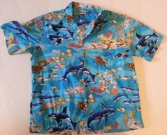 Mens Aloha Republic 2X Hawaiian Shirt Blue Marine Life Whales Sea Turtles USA #AlohaRepublic #Hawaiian