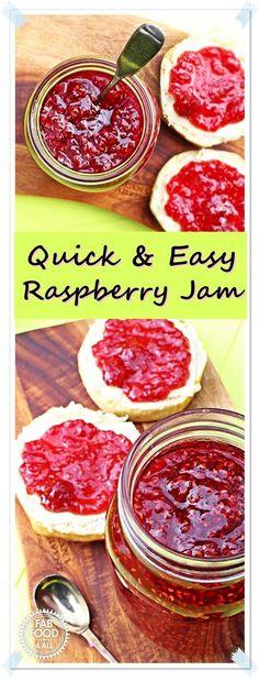 Quick & Easy Raspberry Jam – no pectin! The best raspberry jam I've ever tasted! Quick & Easy Raspberry Jam – no pectin! The best raspberry jam I've ever tasted! Raspberry Jam No Pectin, Fruit Recipes, Vegan Recipes Easy, Homemade Jam Recipes, Raspberry Recipes Easy, Yummy Recipes, Homemade Raspberry Jam, Simple Recipes, Recipes