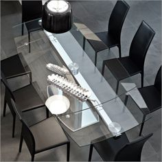 Glass Dining Table And Black Chairs. Addison House