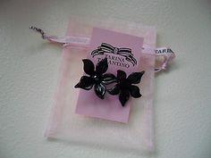 TARINA TARANTINO BLACK FLOWER EARRINGS - http://elegant.designerjewelrygalleria.com/tarina-tarantino/tarina-tarantino-black-flower-earrings/