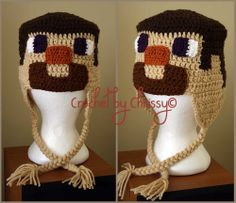 Minecraft Steve Hat: don't know if I would want that on my head. Crochet Kids Hats, Crochet Wool, Crochet Beanie, Crochet Gifts, Knitted Hats, Minecraft Crochet, Crochet Character Hats, Silly Hats, Knitting Accessories