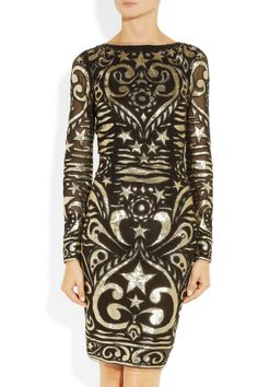 Silk-blend georgette and lamé brocade dress by Emilio Pucci