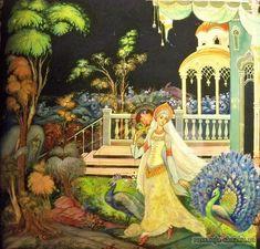 """Сказка """"Аленький цветочек"""", Аксаков С.Т. http://russkaja-skazka.ru/alenkiy-cvetochek/ Только спросит молодая дочь купецкая, красавица писаная:«Здесь ли ты, мой добрый, любимый господин?» Отвечает лесной зверь, чудо морское:«Здесь, госпожа моя прекрасная, твой верный раб, неизменный друг». И не пугается она его голоса дикого и страшного, и пойдут у них речи ласковые, что конца им нет. #сказки #картинки #АленькийЦветочек #art #Russia #Россия #добро #дети #иллюстрации #paint #картины #художн..."""
