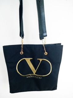 Valentino Garavani Black DenimTote Bag by loveusati on Etsy