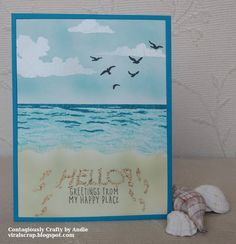 Contagiously Crafty: A Passel of Ocean Themed Cards using my Hero Arts June 2018 Card Kit stamps