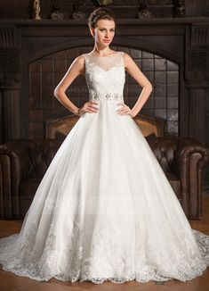 Wedding Dresses - $269.99 - Ball-Gown Scoop Neck Court Train Tulle Wedding Dress With Lace Beading Sequins (002054363) http://jjshouse.com/Ball-Gown-Scoop-Neck-Court-Train-Tulle-Wedding-Dress-With-Lace-Beading-Sequins-002054363-g54363
