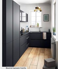 Modern black kitchen cabinets - Modern black kitchen cabinets - the equip . - Home accessories - Modern Black Kitchen Cabinets Modern Black Kitchen Cabinets Best Picture For kitchen ideas remodel - Small Modern Kitchens, Black Kitchens, Modern Kitchen Design, Interior Design Kitchen, Home Kitchens, Minimal Home Design, Small Apartment Interior Design, Minimal Apartment Decor, Kitchen Ikea