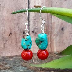 Southwestern Dangle Earrings, Genuine Turquoise Earrings, Gemstone Earrings, Red Shell Pearl Earrings, Red Blue Earrings, Bohemian, Handmade by RavenTrailJewelry on Etsy