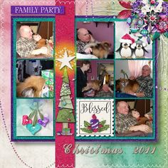 Can you keep a secret?  These are a few of the pages in a book I am doing as a Christmas Gift for a family that lost one of their family this year from a terrible accident.  Dearly Loved and family friend and Fur baby…Bear Lee.  This will be the first Christmas that Bear won't be with up to celebrate Christ with the family.  God love and watch over you in Doggie Heaven.  I use a boatful kit called Believe in Magic by Jumpstart Designs…