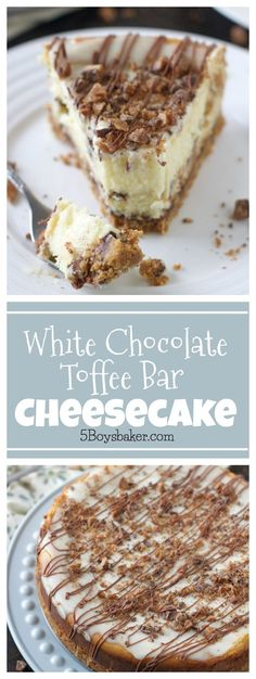 White Chocolate Toffee Bar Cheesecake is utter cheesecake perfection. Melted white chocolate and chunks of toffee bar. It's truly phenomenal! This White Chocolate Toffee Cheesecake is actually a re Toffee Cheesecake, Cheesecake Recipes, Dessert Recipes, White Chocolate Cheesecake, Cupcake Recipes, Just Desserts, Delicious Desserts, Health Desserts, Chocolate Toffee Bars