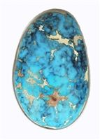 This beautiful Indian Mountain cab measures 16mm x 25mm x 8.2mm thickness. The WEIGHT 23.9 carats. The color is a soft sky blue with a black and white spider webbed matrix.