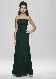 Elegant Chiffon Sheath Strapless Neckline Rouched Mother of the Bride Dress With Handmade Flower