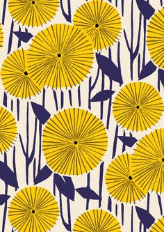 pattern by Minakani #minakani #flowers #woodcut #sunny #japan #pattern