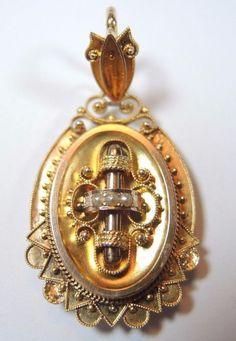Victorian Seed Pearl Locket 14K Yellow Solid Gold Engraved MEC Vintage Estate