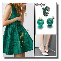 """""""Emerald green outfit"""" by minka-989 ❤ liked on Polyvore featuring GREEN, woman, rosegal and womanfashion"""