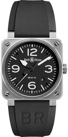 Bell & Ross BR0392BLST stainless steel and rubber strap