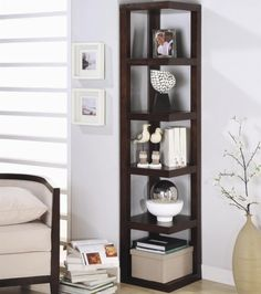 standing corner shelf space saving ideas art display storage space