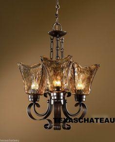 TUSCAN TUSCANY OLD WORLD BRONZE IRON & ART GLASS LIGHT FIXTURE CHANDELIER NEW  like the glass votives