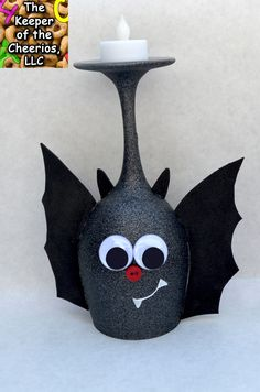 CUTE BAT wine glass candle holder