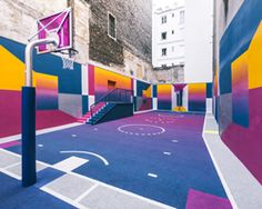 paris' pigalle basketball court canvassed in a gradient of smooth, iridescent hues -Ill studio