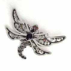 Dragonfly brooch in silver and jet handmade. Artcraft of The Way of Saint James. Taxfree $119.00