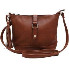 M&Co Tassel Cross Body Bag ($24) ❤ liked on Polyvore featuring bags, handbags, shoulder bags, tan, brown cross body purse, brown shoulder bag, metallic shoulder bag, crossbody handbag and brown purse