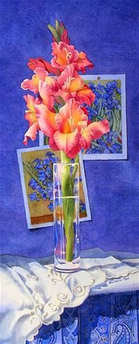 """Daily Paintworks - """"GLADIOLAS AND VAN GOGH TOGETHER AGAIN watercolor still life painting"""" - Original Fine Art for Sale - © Barbara Fox"""